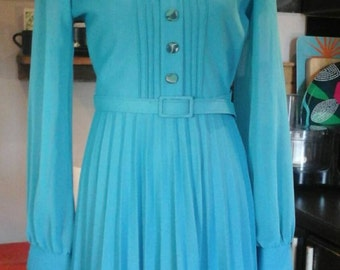 1960s turquoise maxi dress