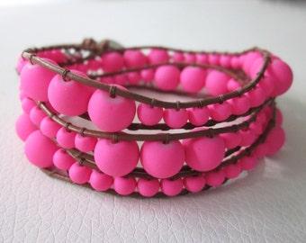 Neon pink wrap bracelet, summer wrap bracelet, 3-wrap bracelet in neon pink and brown leather