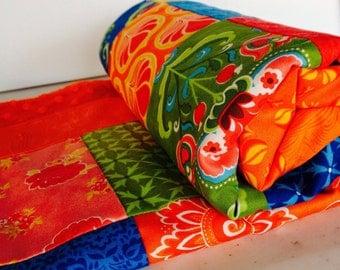Modern Patchwork Girl Baby Blanket, Fancy by Moda, Bright Tangerine Orange Minky Dot Back