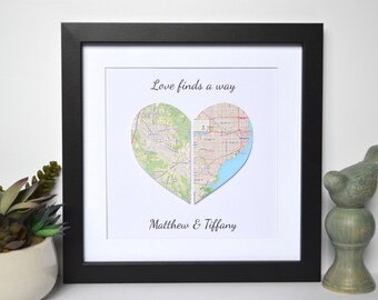 Long Distance Relationship Gift- Love Finds a Way, Unique Gift for Couples, Map Theme Wedding Decoration, Military Gift, Army Wife, Map Art