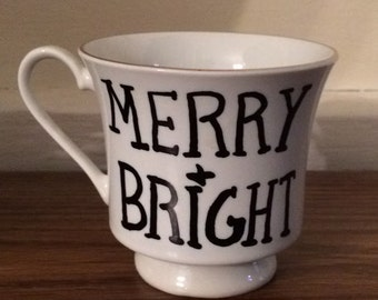 Merry and Bright Vintage Christmas Tree Teacup