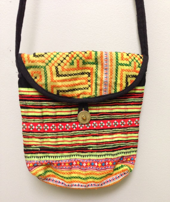 Chinese Purse Hmong Embroidered Hill Tribe Handmade Colorful Embroidered Shoulder Bag Purse Hand Woven Gift for Her One of Kind Tribal