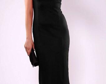 Black dress. Elegant black dress. Jersey dress. Classic black dress. Autumn dress. pencil dress