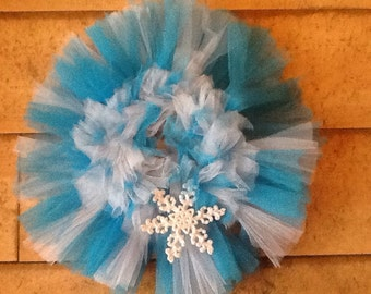 Blue and white snowflake tulle  Wreath wall hanging decoration