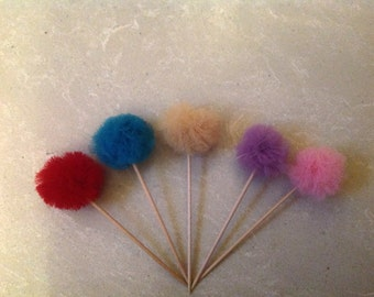 Cute little tulle Pom Pom cake toppers