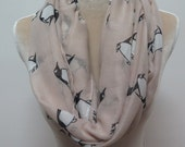 Beige Penguin Print Infinity / Long Scarf Women's Accessories Gift Scarves