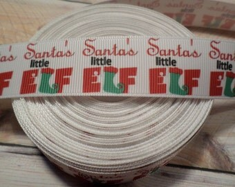 Santas little elf grosgrain ribbon, Christmas ribbon, Elf ribbon, Santas little elf, Santas little helper