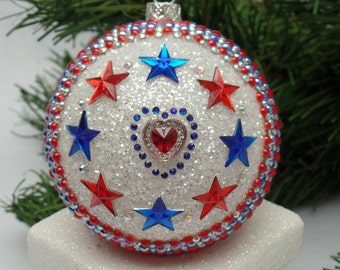 Stars and Stripes Kaleidoscope Christmas Ornament