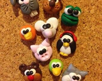 Animal push pins pushpins thumb tacks polymer clay pushpins thumbtacks