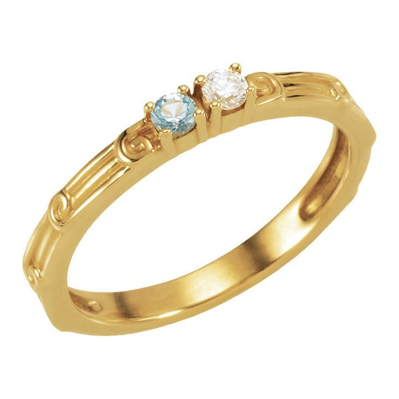 2 birthstone s ring 14k gold white yellow or