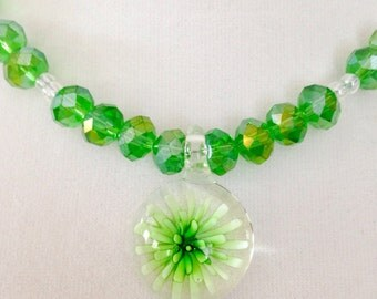 Green beaded necklace, pendant necklace, green necklace, beaded necklace, flower necklace