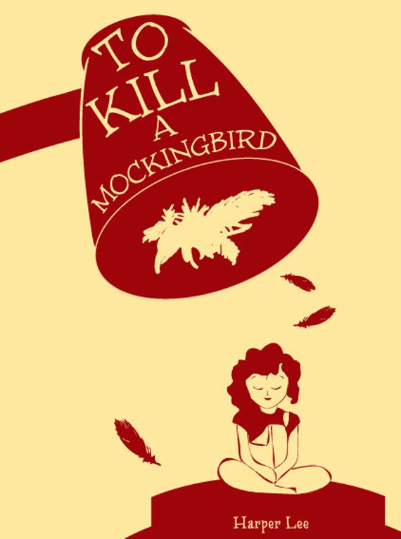 Modern Book Cover Posters : To kill a mockingbird literature poster digital file modern