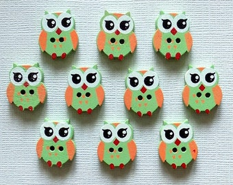 10 Wooden Owl Buttons -  #SB - 00095