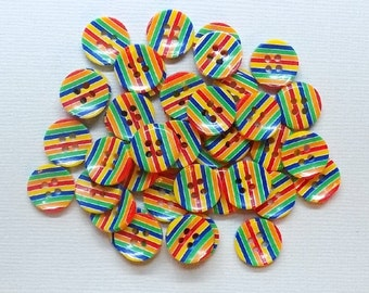 20 Resin Rainbow Round Striped Buttons - #R-00032