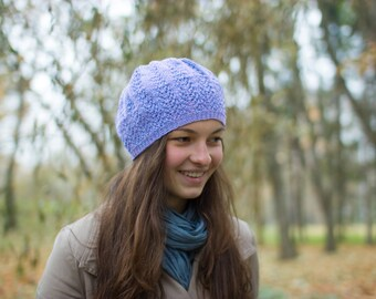 Womens hat, Hand Knit, Hat beret in iris color,  Slouchy Beanie, Fall Autumn, Fashion gifts, Winter Accessories
