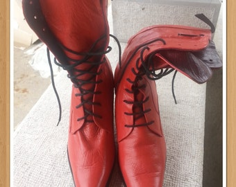 gianfranco ferre ankel boots red leather bohemian gotic made in italy retro style