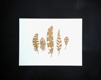 Linocut of spotted and striped feathers in gold, original Art Print, limited edition, size 30 x 40 cm.
