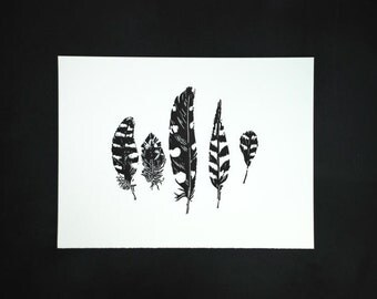 Linocut of spotted and striped feathers in black, original Art Print, limited edition, size 30 x 40 cm.