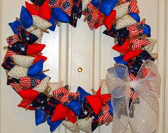 "Clearance - Red, White, and Blue Fourth of July - 18"" Pillow Wreath"
