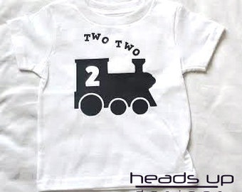 Two Two Train Toddler Shirt Birthday - Train Turning 2 tshirt - Two Train t-shirt Boy - Toddler Boy 2nd B-Day t shirt - Longsleeve -