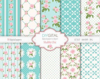 Shabby Chic Digital Paper Set- 10 Digital Papers- Floral- Romantic-Cottage Chic- Roses Digital Paper for scrapbook, invites, cards, weddings