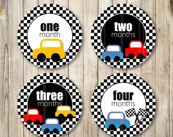 DIGITAL Racing Cars Monthly Milestones Stickers, Baby Monthly Onesie, Racing Cars Labels, Checkered Baby Boy Monthly Stickers, Diy Printable