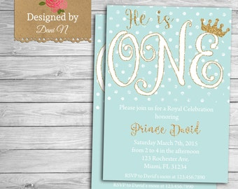 Prince Birthday Party INVITATION, Little prince printable invite, crown blue and gold, first birthday, Any Age Birthday Party, little prince