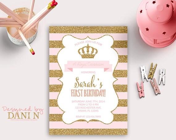 Princess invitation first birthday party gold glitter sparkle il570xn filmwisefo Gallery