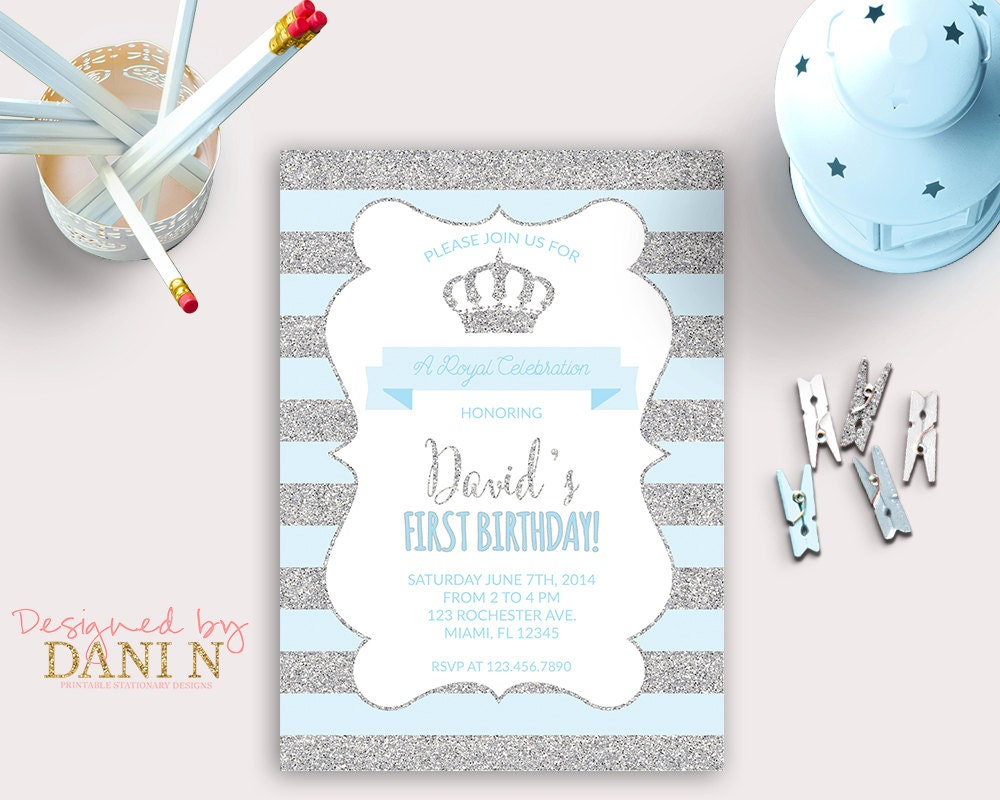 Little Prince Birthday INVITATION silver glitter party crown – Little Prince Birthday Invitations