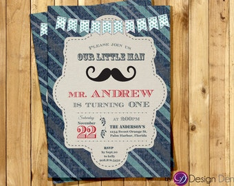 Baby's First Birthday Mustache Denim invitation for Boy/Little man/ Mustache/Denim Invitation #B1008