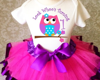 Fast Shipping - Birthday Purple Pink Blue Owl Look Whoos Whos 1 Age first 1st Shirt & Tutu Set Girl Outfit Party baby 6 9 12 18  month