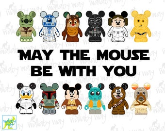 May the Mouse Be with You Mickey Star Wars Printable Iron On Transfer or Use as Clip Art, DIY Star Wars Shirt, Disney, Vinylmation, Mickey
