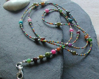 """Beautiful """"Summer Festival"""" Bright Colourful Beaded ID Lanyard Necklace Chain"""
