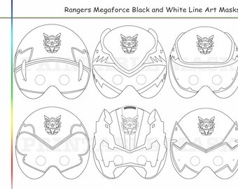 Coloring Pages Rangers Party Printable Black And White Line Art Masks Kids Costume