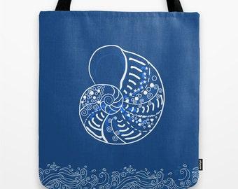 Nautical Tote Bag - Summer Beach Bag - Custom Color - 13x13 16x16 18x18 - Women tote bag - Ocean Marine Life Bag - Beach Bag - Shopping Bag