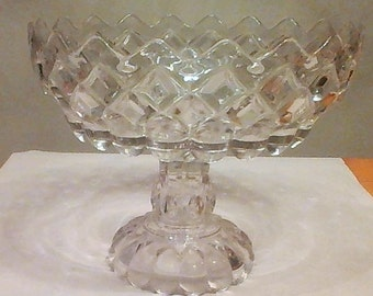Beautiful Early American Pattern Glass Clear Glass Open Compote!!!!!
