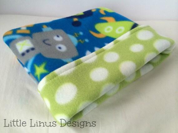 Cozy fleece cuddle sleep snuggle sack space robots green for Outer space fleece