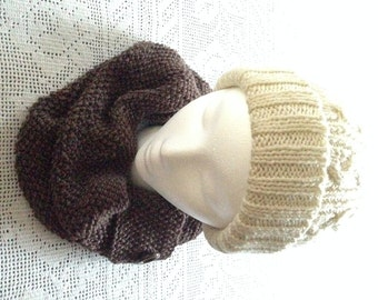 Brown Infinity Scarf, Women's Cowl, Slouchy Neck Warmer with Button