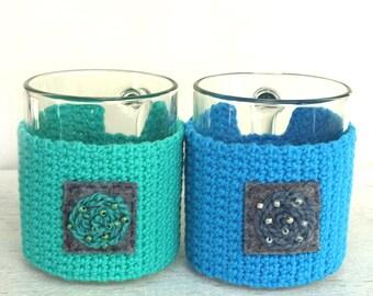 Crochet Cup Cozy, crochet tea coffee sleeve, creative mug cozy, Crochet Mug Cozy, gift for holidays, creative cozy