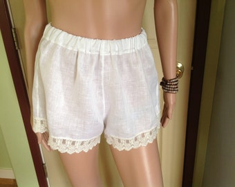 White Hankerchief Linen Sleep/Pyjama/Tap/Beach Shorts with Delicate Lace Trim