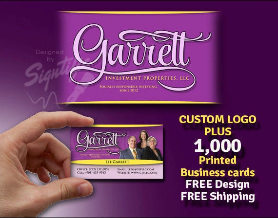 Custom logo with 1000 printed business cards FREE design
