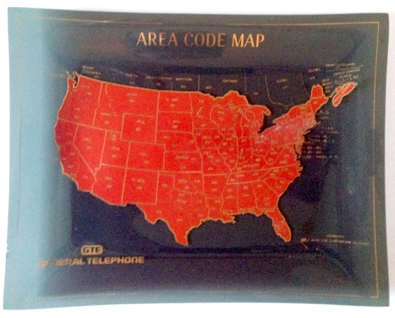 Rare And Original S Area Code Map General Telephone - Telephone area codes usa