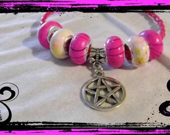 Pentagram charm pink leather bracelet