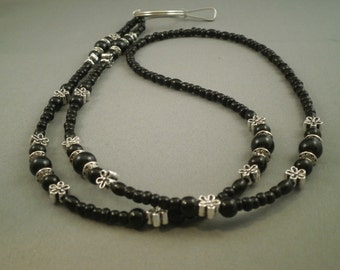 black beaded  ID, key or eyeglass lanyard, your choice of attachment: eyeglass, key or ID holder