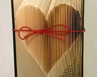 Large Heart Folded Book-Paper Art-Anniversary-Wedding Decoration-Valentine's Day-Gift-old Book-Book Origami - E68