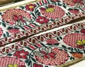 Incredible 1800s antique French silk jacquard ribbon, red, green, golden yellow chinoiserie style floral motif millinery, costume home decor