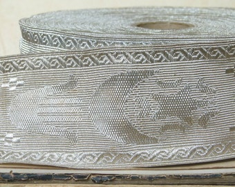 Antique metallic silver ribbon, hand of fatima motif, Hamsa Hand, millinery hat gatsby, costume design jewellery flapper upholstery
