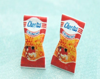 vintage cheetos puffs earrings-miniature food jewelry, junk food jewelry