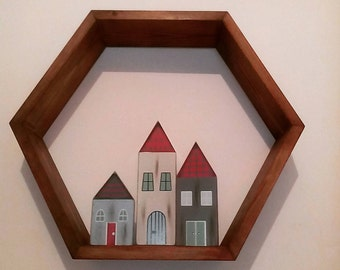 Hexagon shadow box wall shelf