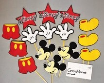 Mickey Mouse Cupcake Toppers - Mickey Mouse Cupcake Picks - Set of 15 Mickey Cupcake Toppers - Mickey Mouse Centerpieces - Cupcake Toppers